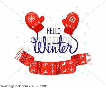 Hello Winter Colourful Vector Illustration In Cartoon Flat Style With Gradients. Cosy Wintertime Pla