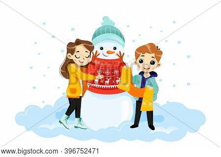 Wintertime Scene Vector Illustration In Cartoon Flat Style With Characters. Male And Female Children