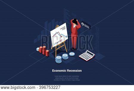 Economics Recession Conceptual Illustration With Infographics. 3d Cartoon Composition On Dark Backgr