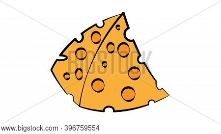 Cheese On A White Background, Vector Illustration. An Appetizing Triangular Slice Of Cheese With Hol