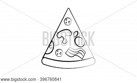 Slice Of Pizza On A White Background, Vector Illustration. Triangular Pizza Stuffed With Mushrooms,