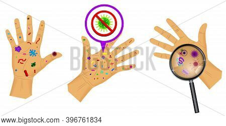 Set Of Realistic Bacteria Or Various Microscopic Virus And Germs Or Wash Hand Concept Isolated. Eps