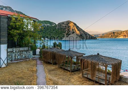 Landscape with sea and mountains at sunset. Turunc village, Turkey