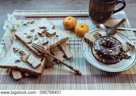 Breakfast Is Placed On The Table, Winter Breakfast.