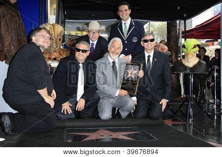 LOS ANGELES - NOV 30: Guillermo del Toro, David Green, Barry Sonnenfeld, Rick Baker, Mike Janela, Leron Gubler as Rick Baker is honored with a star on November 30, 2012 in Los Angeles, California
