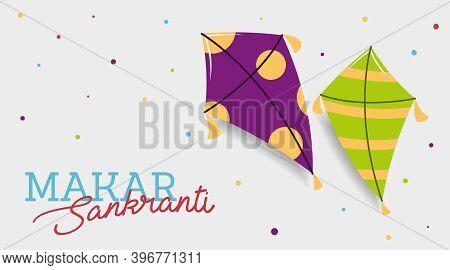 Flying Kites In The Sky For Makar Sankranti Indian Festival Illustration Vector.