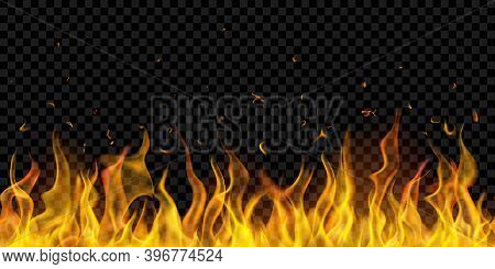 Translucent Fire Flames And Sparks With Horizontal Repetition On Transparent Background. For Used On
