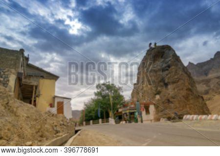 Blurred Image Of Buddist Gompa Of Maitreya Buddha Or Future Buddha On Side Of Highway, Blue Cloudy S