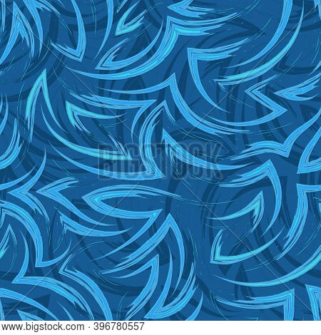 Vector Seamless Pattern Of Flowing Lines And Corners In Blue And Turquoise Color Water Or Flow Textu