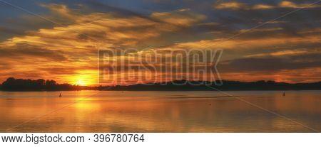 Evening At Lake Mueritz In Mecklenburg Lake District,germany