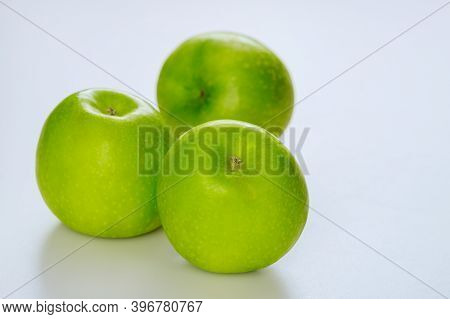 Whole Green Apples And Isolated On White Background. Produce Product.