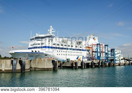 Portsmouth, Uk - September 8, 2020: Side View Of The Large Passenger Ferry Normandie Run By Brittany