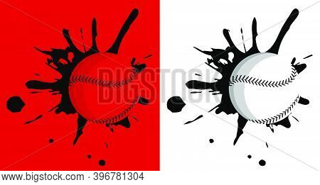 Baseball Hit The Wall With Splashes. Sport Equipment. Team Sports In America. Active Lifestyle. Vect