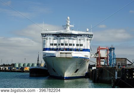 Portsmouth, Uk - September 8, 2020:  Head On View Of The Prow Of Normandie A Cross Channel Passenger