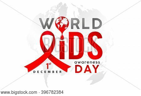 World Aids Day Awareness 1st December Illustration With Red Ribbon. Aids Or Hiv Celebration Day For