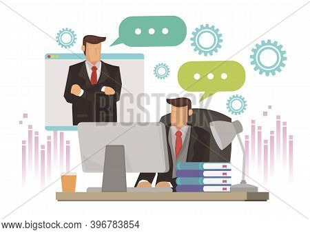 Businessman Speaking On Video Call With Colleague, Client Or Boss. Concept Of Online Briefing Or Dig