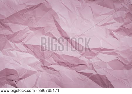 Pink Crumpled Paper Background, Texture For Web Design Screensavers. Template For Various Purposes O