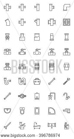 Plumbing Service Line Icons Set. Linear Style Symbols Collection, Outline Signs Pack. Vector Graphic