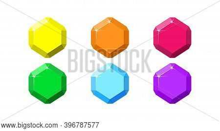 Hexagon Colorful Gemstones. Ruby, Emerald, Amethyst, Diamond And Quartz Top View. Cartoon Vector Ill