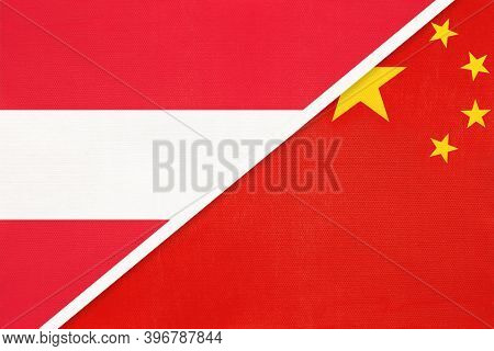 Austria And China Or Prc, National Flags From Textile. Relationship, Partnership And Match Between T