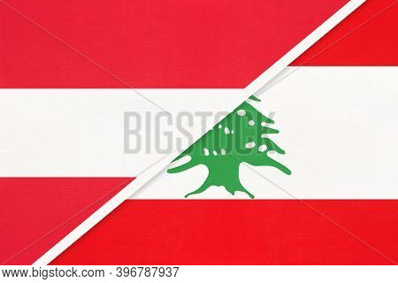 Austria And Lebanon Or Lebanese Republic, National Flags From Textile. Relationship, Partnership And