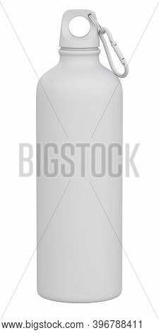 Clay Render Of Metal Water Bottle Isolated On White Background - 3d Illustration