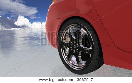 Red Sport Car On Thin Ice , Rear Wheel