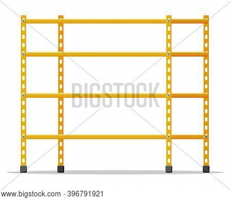 Metal Yellow Standing Rack. Empty Metallic Storage Shelves Isolated On White. Warehouse Equipment An