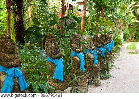 Traditional Temple Architecture On Koh Samui In Thailand, Southeast Asian Culture, Welcoming Statue