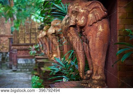Traditional Temple Architecture On Koh Samui In Thailand, Southeast Asian Culture, Elephant Statues