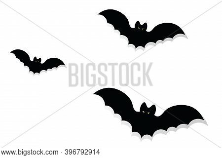 The Bats. Silhouette. Glowing Eyes. Vector Illustration. Isolated White Background. Halloween Symbol