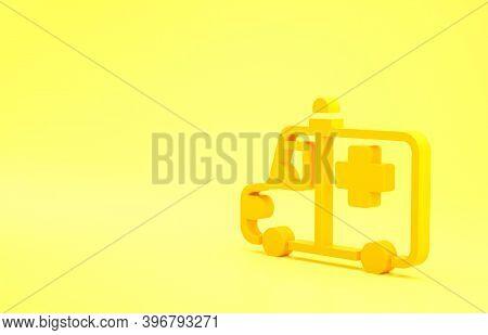 Yellow Ambulance And Emergency Car Icon Isolated On Yellow Background. Ambulance Vehicle Medical Eva