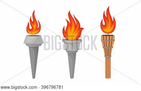 Metal Torches With Brightly Burning Fire And Flame Vector Set