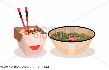 Udon Noodle With Chopsticks In Carton Box And In Bowl Vector Set