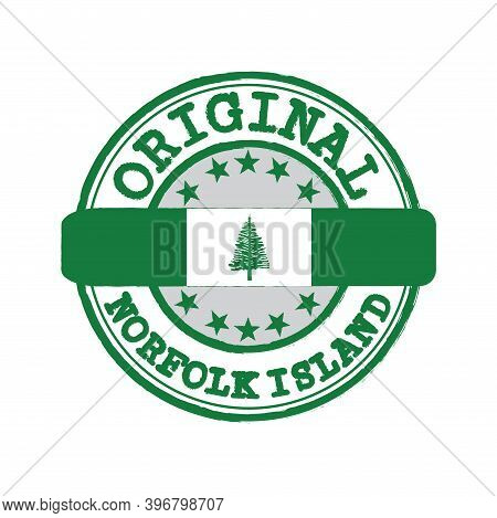 Vector Stamp For Original Logo With Text Norfolk Island And Tying In The Middle With Nation Flag. Gr