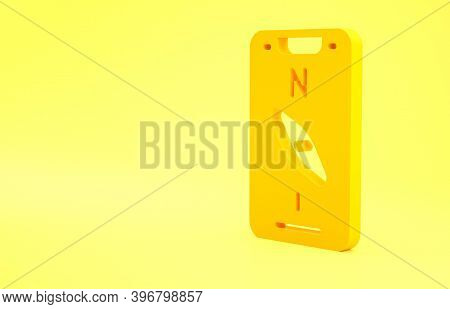 Yellow Compass Screen Apps On Smartphone For Navigation Icon Isolated On Yellow Background. Applicat