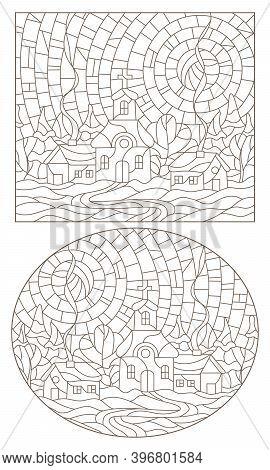A Set Of Contour Illustrations Of Stained Glass Windows With Rural Landscapes, A Church On A Backgro