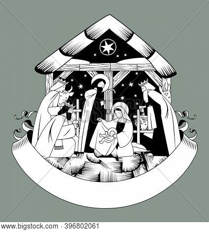 Christmas greeting card with a scene of the Nativity of Christ and Adoration of the Magi and retro ribbon banner in black and white