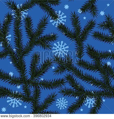 Christmas seamless pattern. Vintage engraving stylized drawing