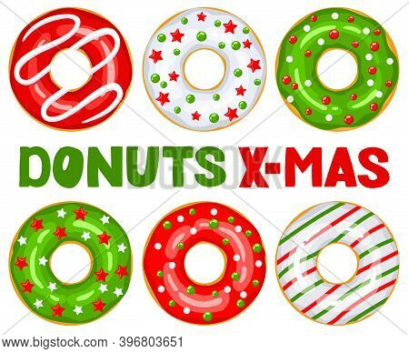 Christmas Donuts Set. Green, White, Red Donuts Are Decorated With Sweet Festive Stars And Balloons.