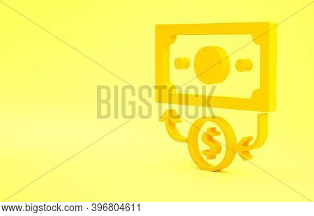 Yellow Stacks Paper Money Cash Icon Isolated On Yellow Background. Money Banknotes Stacks. Bill Curr