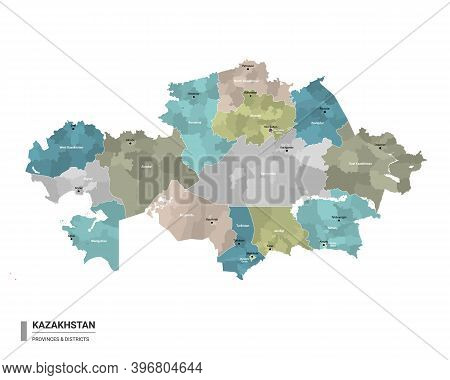 Kazakhstan Higt Detailed Map With Subdivisions. Administrative Map Of Kazakhstan With Districts And
