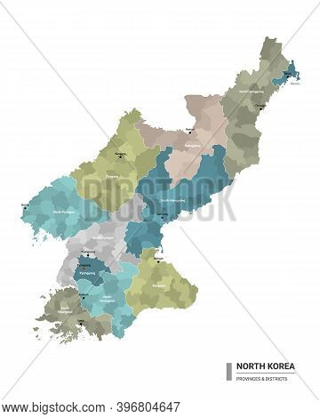 North Korea Higt Detailed Map With Subdivisions. Administrative Map Of North Korea With Districts An
