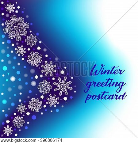 Winter Background With Gradient Mesh, White Snowflakes And Blurred Dots. Vector Snowfall Greeting Ca