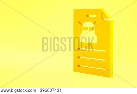 Yellow Technical Specification Icon Isolated On Yellow Background. Technical Support Check List, Tea