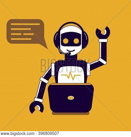Chat Bot Robot Say Hi Vector Flat Cartoon Character Illustration On Yellow Background Speak Bubble V