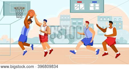 Basketball Stadium Player Composition With Outdoor Scenery With Cityscape And Doodle Characters Of A