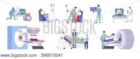 Oncology Diagnostic Treatment Care 8 Flat Compositions With Mri Scanner Chemo And Radiotherapy Child