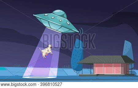 Alien Ufo Cow Composition With Outdoor Night View Of Field And Ufo Light Ray Abducting Cow Vector Il