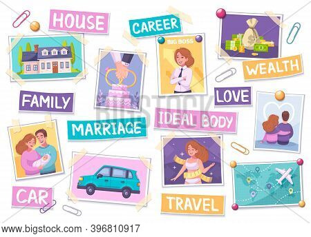 Vision Board Cartoon Set With Ideal Body Symbols Isolated Vector Illustration